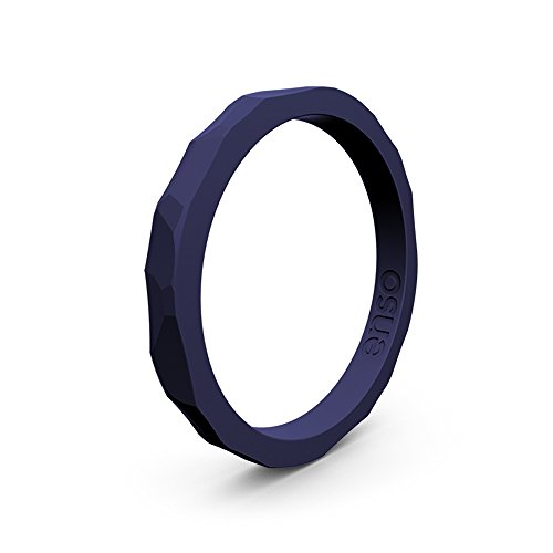 Enso Silicone Ring/Wedding Band. Hammered Design for Men and Women Color: Navy Blue. Size: 9