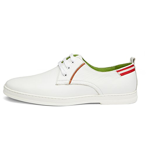 ZRO Mens Genuine Leather Casual Lace-Up Shoes White k2hJhK