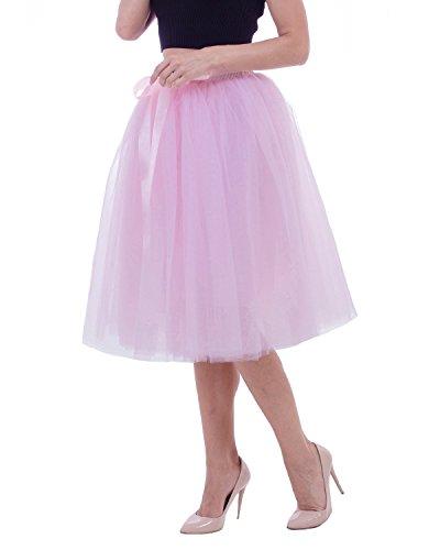 Comall Femme Jupon sous Robe Jupe Tutu en Tulle 7 Couches 65cm Rtro Vintage Petticoat Rose