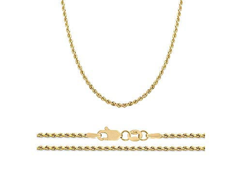 024ff8d02e0f Verona Jewelers 14K Gold 1.8MM Diamond Cut Rope Chain Necklace for Men and  Women-