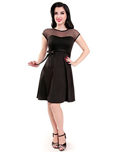 Steady-Clothing-Plus-Mod-60s-Lovely-Pinup-Sheer-Lace-Polka-Dot-Little-Black-Dress