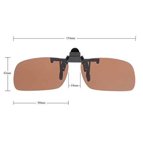 Punasi 4-Pack Polarized Clip-on Plastic Sunglasses Lenses for Outdoor Walking Driving Fishing Cycling - (Night Vision Yellow + Grey + Dark Brown + Dark Green) - (Large Size)
