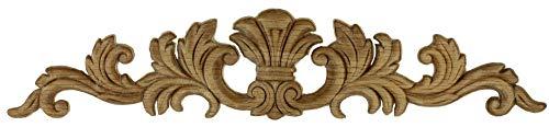 Carved Wood Trim - Large Splash Oak Wood Applique - 16-1/2