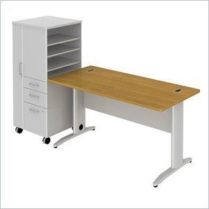 Bush Cherry Locker (2-Pc Rectangular Desk Set in Modern Cherry Finish)
