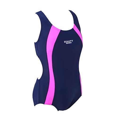 - Children One-Piece Splice Competitive Swimsuits Girls Swimwear Wetsuits (140(6-8 years old), dark blue)