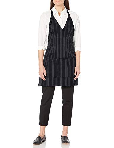 Uncommon Threads Unisex V-Neck Formal Apron, Black/White Pin Stripe, One Size