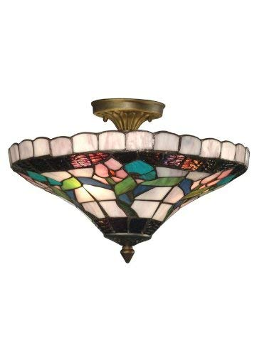 Dale Tiffany 7096/3LTF Hollyhock Flush Mount Light, Antique Brass and Art Glass Shade ()