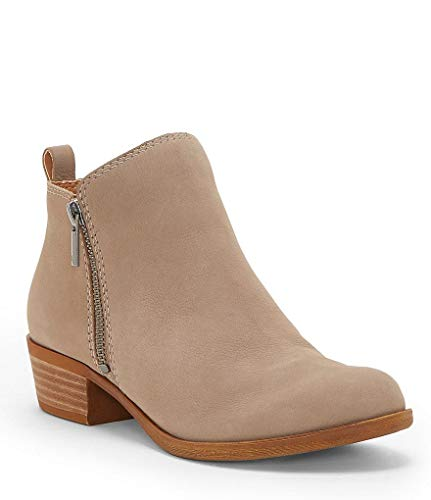 Lucky Brand Basel Chincilla Nude Nubuck Zip Suede Block Heel Booties Wide Width (7) ()