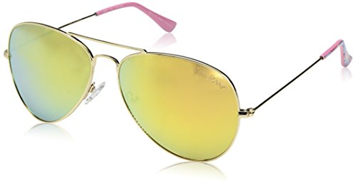 Lilly Pulitzer Women's Lexy Polarized Aviator Sunglasses, Shiny Gold/Coco Coral Crab, 59 mm