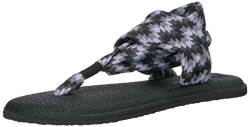 (Sanuk Women's Yoga Sling 2 Prints Flat Sandal,black chevron,7 M US)