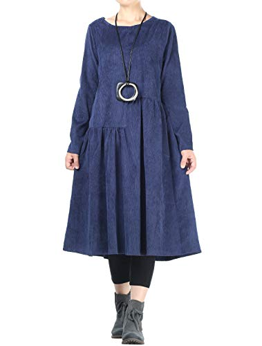 Mordenmiss Women's Corduroy Pleated Dresses Swing Long Sleeve Dress with Pockets