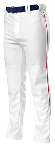 A4 Youth Contrast Open Bottom Baggy Cut Baseball Pant, White/ Scarlet Red, S