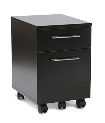 Unique Furniture 2 Drawer Mobile Pedestal File Cabinet, Black