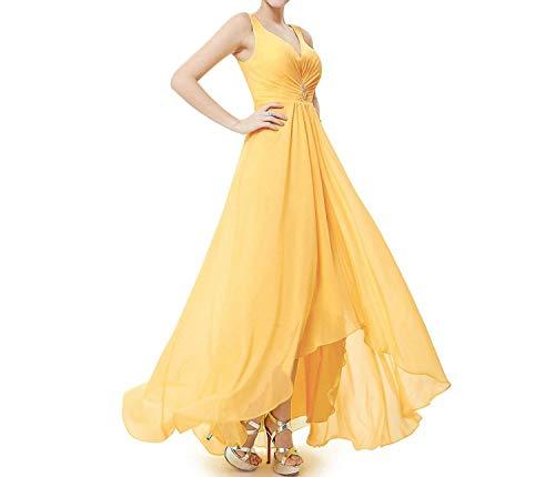 Formal Evening Dresses Photo Double V Neck Rhinestones Long Evening Dress,Yellow,12