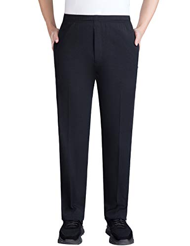 Zoulee Summer Men's Front Zip Open-Bottom Sports Pants Sweatpants Trousers Black XL