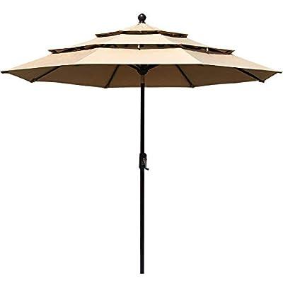 EliteShade Sunbrella 9Ft 3 Tiers Market Umbrella Patio Outdoor Table Umbrella with Ventilation and 5 Years Non-Fading Top, Heather Beige