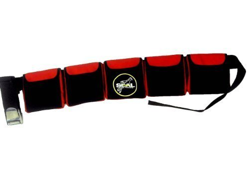 - SCUBA DIVING POCKET WEIGHT BELTS (Red, Medium 5 pocket)