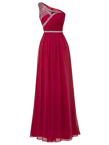Chiffon Pleats Evening Gown - Tanpell Pleat Chiffon One Shoulder Bridesmaid Dresses Long Evening Gown Burgundy 16
