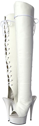 Leather Wht Faux wht Stivali Pleaser Delight Donna 3019 w1nxqwR6O