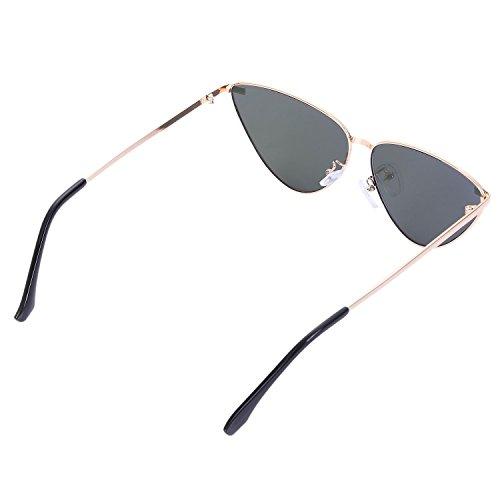 vendimia metal del los de gato espejo Frame de del sol de Gafas ojos de S8007 la oro de claros gris sol abrigo unisex senoras manera lentes SODIAL del negro rosa amp; de la wzHqvBwX