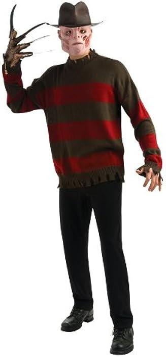 Amazoncom Nightmare On Elm Street Deluxe Freddy Sweater Redblack