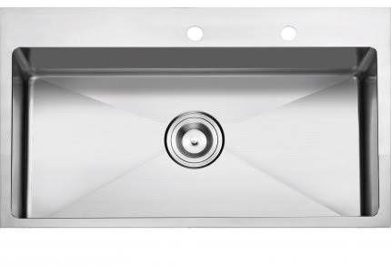 Stufurhome NW-3322SO Over Mount Stainless Steel 2-Hole Single Bowl Kitchen Sink, Satin, 33'