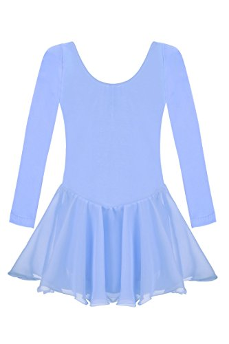 Arshiner Kids Girls Classic Dance Ballet Dress Long Sleeve Leotard, 160(Age for 12-13Y), Blue