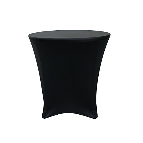 Your Chair Covers - 30 x 30 inch Lowboy Cocktail Round Stretch Spandex Table Cover Black (Table Inch Round And Chairs 30)