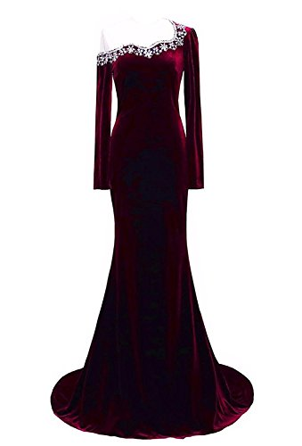 LiCheng Bridal Long Velvet Mermaid Formal Dresses Beaded Scoop Evening Party Gown With Long Sleeve Burgandy US22 Plus (Burgandy Velvet Dress)