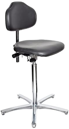 """Milagon Stera WS1711 Workseat on Polished Star Base Clean Room Chair with Conductive Glides, ESD High Profile, 24""""-34"""" Adjustment Height"""