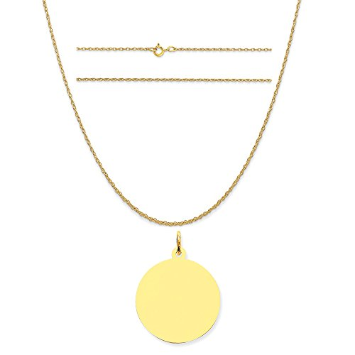 14k Yellow Gold Round Disc Charm on a 14K Yellow Gold Carded Rope Chain Necklace, - C Yellow Round 13