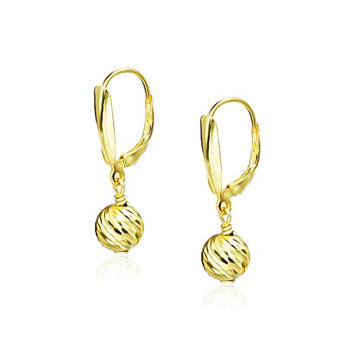 Yellow Gold Flashed Sterling Silver Diamond Cut Ball 8MM Leverback Dangle Earrings
