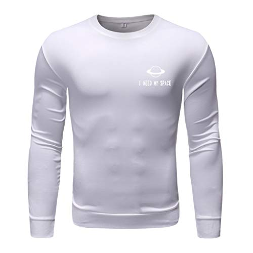 Men's Fashion Long-Sleeved Round Neck Solid Color Printing Sweater Tops Blouse, ()