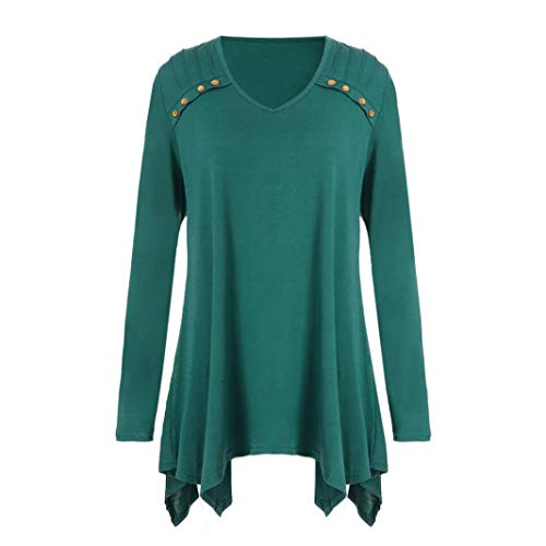 Women Autumn Blouse Winter Loose Long Sleeve Button Plus Size Tops Blouse T-Shirts ❤️ ZYEE,S-5XL