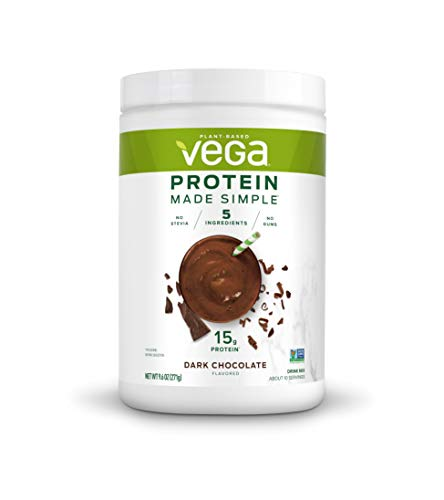 Vega Protein Made Simple | Dark Chocolate (10 Servings), 9.6 oz | Delicious Plant Based Healthy Vegan Protein Powder | Stevia Free, Dairy Free, Gluten Free, Non GMO, No Gums.
