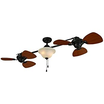 Harbor Breeze 74 Twin Breeze Aged Bronze Dual Ceiling Fan