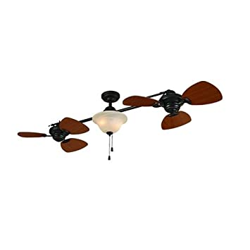 Twin Ceiling Fans: Harbor Breeze 74 Twin Breeze Aged Bronze Dual Ceiling Fan with Light Fixture,Lighting