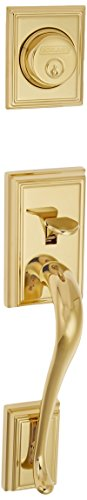 Schlage F92-ADD Addison Dummy Exterior Handleset from the F-Series, Lifetime Polished Brass
