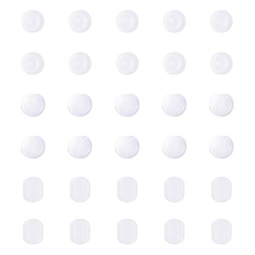 PandaHall Elite About 150 Pieces Clear Earring Pads Silicone Comfort Earring Cushions 3 Styles for Clips on Earrings ()