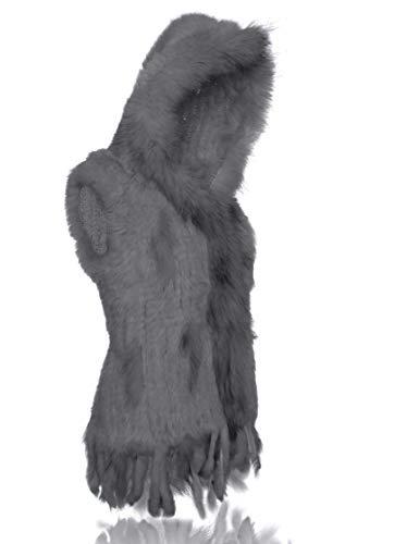 de Chaude Gris Fourrure Gilet pais Capuche Lapin Douce HEIZZI 100 Vritable et tricote OwUP0q