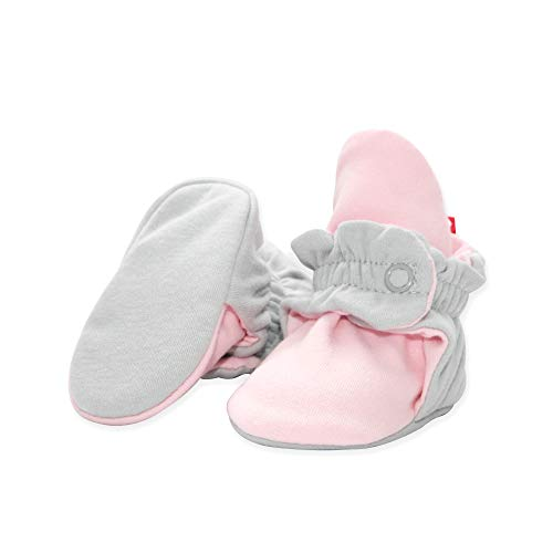 Zutano Booties - Zutano Organic Cotton Baby Booties, LIGHT GRAY/BABY PINK, 6M