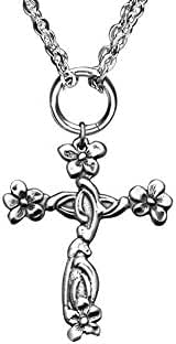 Silver Spoon Jewelry, Silver Plated Abigail Cross Pendant Necklace for Women with Double Chain