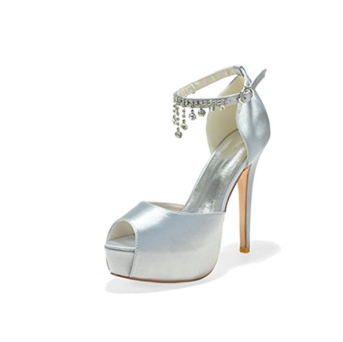 Clearbridal Women's Satin Wedding Bridal Shoes Open Peep Toe High Heels for Evening Prom Party with Rhinestone Crystal ZX3128-21 Silver xV7ewb
