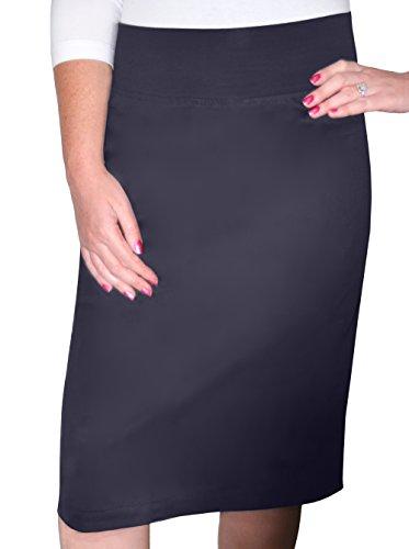 (Kosher Casual Women's Modest Knee Length Lightweight Cotton Stretch Twill Pencil Skirt with Stretch Waist Dark)