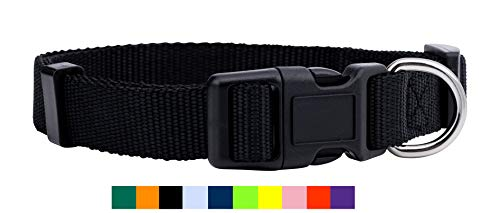 Native Pup Nylon Dog Collar Classic Solid Colors (Small, Black)