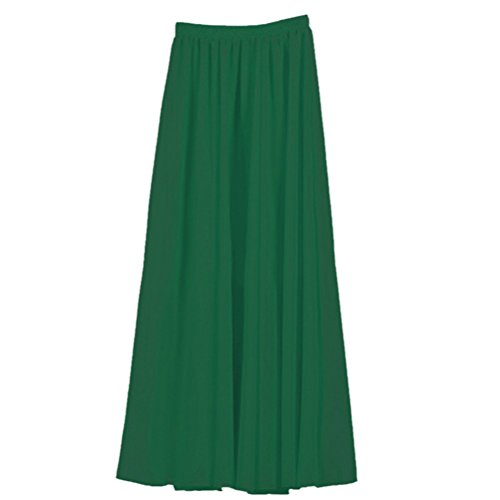 Womens Double Layer Chiffon Pleated Retro Long Skirt Elastic Waist Skirt Green (Solid Chiffon Skirt)
