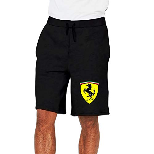 Syins Mens Designed Ferrari Logo Colorized Cool with Pockets Shorts Workout Short Pants Black XXL