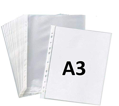 True-Ally Heavy Duty 25 Pcs 150 Micron Transparent Document Sleeves, Leaf Sheet Clear Certificates/Waterproof Sheet Protectors 11 Holes Punched Ring Files Folder ( A3 Size) (25 Sheets – 150 Micron)