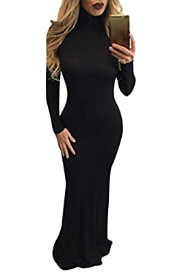 MeeNew Women's Elegant Long Sleeve Turtleneck Bodycon Cocktail Long Maxi Dress