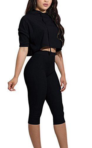 YiYaYo Womens 2 Piece Jumpsuit Outfits Athletic Tracksuit Sweatsuits Hoodies Crop Top and Long Pants Set Sportswear Black (2 Piece Hooded Sweatsuit Pants)